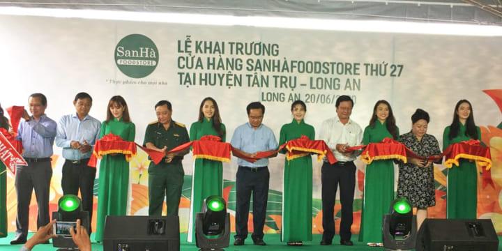 Tổ chức lễ khai trương giá rẻ tại Long AnIKhai trương SanHàFoodstore tại Tân Trụ