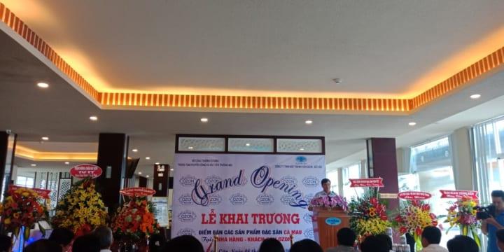 Tổ chức lễ khai trương giá rẻ tại Cà MauI Khai trương điểm bán đặc sản Cà Mau tại Nhà hàng – Khách sạn OZON