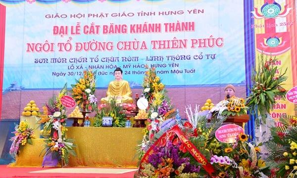 Công ty tổ chức lễ khánh thành tại Hưng Yên | Lễ khánh thành ngôi Tổ Đường chùa Thiên Phúc